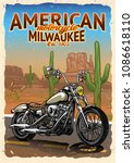 motorcycle at american desert... | Shutterstock .eps vector #1086618110