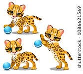 set of funny animated leopard... | Shutterstock .eps vector #1086621569
