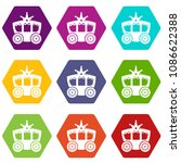 carriage icons 9 set coloful... | Shutterstock .eps vector #1086622388