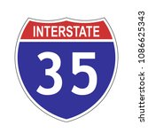 us interstate 35 highway sign... | Shutterstock .eps vector #1086625343