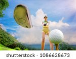 young woman in charge on tee... | Shutterstock . vector #1086628673