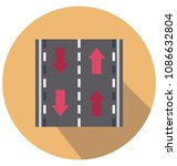 road flat isolated vector icon ... | Shutterstock .eps vector #1086632804
