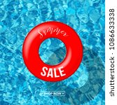 red swimming ring with summer... | Shutterstock .eps vector #1086633338