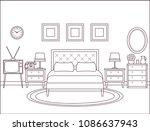 bedroom interior. hotel retro... | Shutterstock .eps vector #1086637943