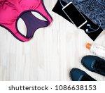 women's exercise dress red... | Shutterstock . vector #1086638153