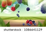 blue berry and raspberry fruits ... | Shutterstock .eps vector #1086641129