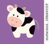 cow flat cartoon style  cute... | Shutterstock .eps vector #1086641519