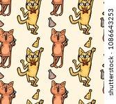 seamless sample cartoon  cats...   Shutterstock .eps vector #1086643253