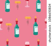 the wine and corkscrew.... | Shutterstock .eps vector #1086650834