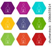 poison icons 9 set coloful... | Shutterstock .eps vector #1086655814