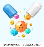 realistic detailed 3d vitamin...   Shutterstock .eps vector #1086656480