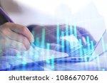 hands using laptop computer... | Shutterstock . vector #1086670706