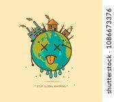 stop global warming. cartoon... | Shutterstock .eps vector #1086673376