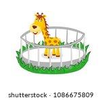 beautiful cartoon giraffe... | Shutterstock .eps vector #1086675809