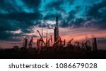 oil drilling rig with group of... | Shutterstock . vector #1086679028