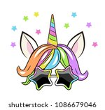 face of a unicorn with sun... | Shutterstock .eps vector #1086679046