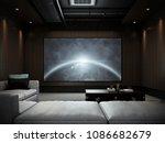 modern luxury home theater room ... | Shutterstock . vector #1086682679