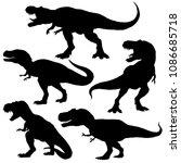 Dinosaur t-rex silhouettes set. Vector illustration isolated on white background   Shutterstock vector #1086685718