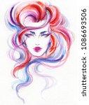 beautiful woman. fashion... | Shutterstock . vector #1086693506