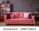 pink velvet couch with... | Shutterstock . vector #1086710813