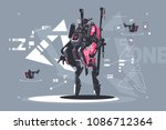 robot drone mechanized and... | Shutterstock .eps vector #1086712364