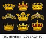 realistic vector set of golden... | Shutterstock .eps vector #1086713450