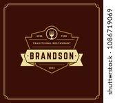 restaurant logo design vector... | Shutterstock .eps vector #1086719069