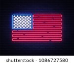 usa flag neon sign. night... | Shutterstock .eps vector #1086727580