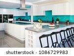 Stock photo home interior of white modern kitchen 1086729983