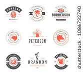 butcher shop logos design... | Shutterstock .eps vector #1086732740