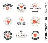 butcher shop logos design... | Shutterstock .eps vector #1086732740