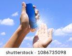 hand of female holding... | Shutterstock . vector #1086735098