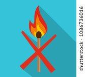 no fire icon. flat illustration ... | Shutterstock . vector #1086736016