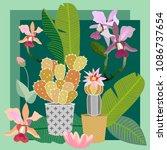 tropical succulent garden. silk ... | Shutterstock .eps vector #1086737654