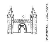 vector illustration of the gate ...   Shutterstock .eps vector #1086740546