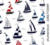 marine seamless pattern with... | Shutterstock .eps vector #1086753089