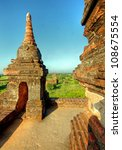 view at the valley of Bagan with his ancient pagoda's, Myanmar - stock photo