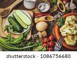 fried cauliflower in batter....   Shutterstock . vector #1086756680