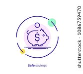 line art piggy bank. finance...   Shutterstock .eps vector #1086759470