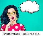 thinking young sexy woman with... | Shutterstock . vector #1086765416