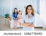 little girls trust a young... | Shutterstock . vector #1086778490