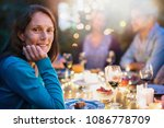 group of friends gathered... | Shutterstock . vector #1086778709