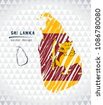sri lanka vector map with flag... | Shutterstock .eps vector #1086780080
