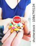 stop using drugs or... | Shutterstock . vector #1086795134