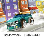 The sports car racing in the suburbs of the city - illustration for children - stock photo