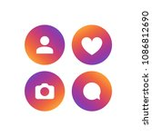 social network vector icon set. ... | Shutterstock .eps vector #1086812690