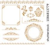 vintage set. floral elements... | Shutterstock .eps vector #1086813779