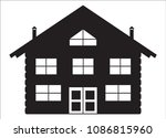 a log cabin silhouette isolated ... | Shutterstock .eps vector #1086815960