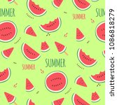 watermelon sliced hand drawn... | Shutterstock .eps vector #1086818279