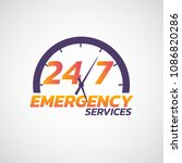 24 7 emergency services logo... | Shutterstock .eps vector #1086820286